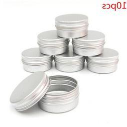 10pcs Empty Aluminum Cream Jar Tin Cosmetic <font><b>Lip</b>