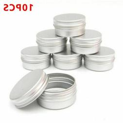 10Pcs Empty Srew Top Round Containers Cosmetic Pot Lip Balm
