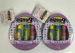 2 Peeps Collectable Tin Lip Balm Set Strawberry Cotton Candy