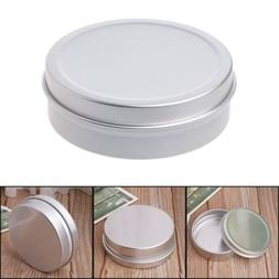 2 oz. Aluminum Round Cosmetic Lip Balm Tin Container Bottle