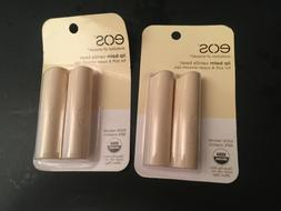 2 Twin Packs EOS Lip Balm Stick, Vanilla, Hydrating, 0.14 Oz