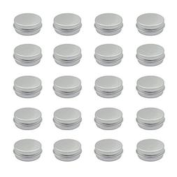 Grosun 20 Packs Round Tin Container Bottle Aluminum Screw Li