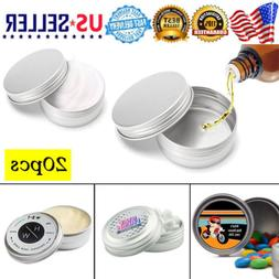 20X 10ml Durable Silver Aluminum Cosmetic Pot Lip Balm Jar C