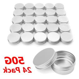 24/96pcs 50ml Aluminum Round Empty Refillable Bottles <font>