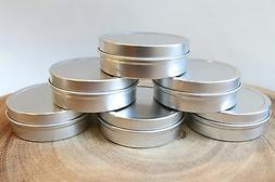 2oz SLIP LID COSMETIC TIN  SALVE LIP BALM CANDLE WEDDING STO