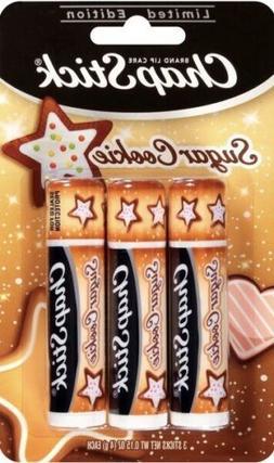3 Pack ChapStick Sugar Cookie Flavored Lip Balm 0.15 Oz Limi