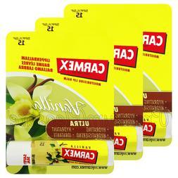 3 x Carmex Vanilla Lip balm Flavored SPF15 Moisturising Dry
