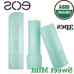 3pcs EOS Lip Balm Stick Sweet Mint Smooth ORGANIC 100% Natur