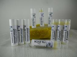 2 Natural Lip Balm Moisturizers, Beeswax Essential  Handmade