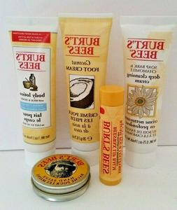 5 PC Burt's Bees Set Travel Size Cleansing Cream/Body Lotion