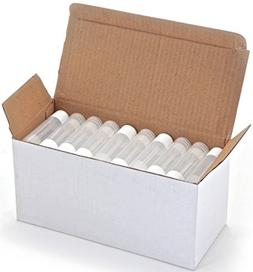 50, Clear, Empty, 5.5 ml Lip Balm Tubes with White Caps