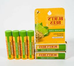 6 Burts Bees 100% Natural Moisturizing Lip Balm - GINGER LIM