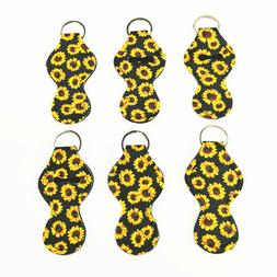 6Pack Sunflower Chapstick Holder Keychain Neoprene Lip Balm