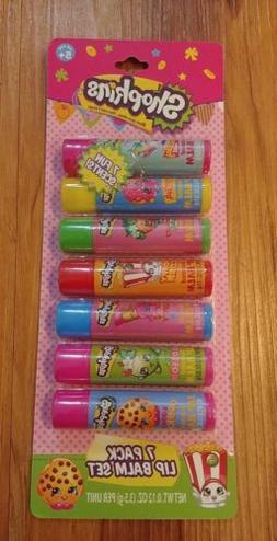 Shopkins 7 Pack Flavored Lip Balm Chap Stick Set