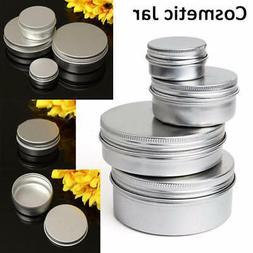 Aluminium Empty Cosmetic Pot Lip Balm Jar Tin Container Silv