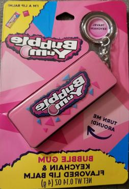 Bubble yum, bubble gum flavored travel Keychain with lip bal