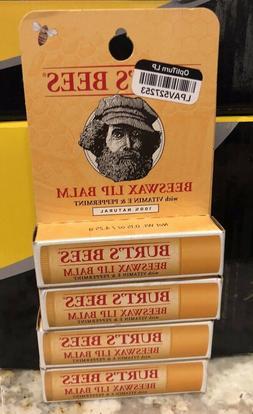 Burt's Bees Beeswax Lip Balm With Vitamin E & Peppermint 4-P