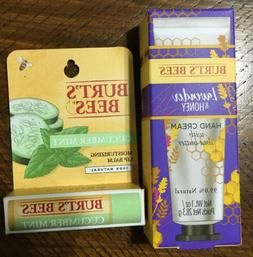 Burt's Bees Cucumber Mint Lip Balm & Lavender & Honey Hand C