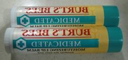 Burt's Bees - MEDICATED Moisturizing Lip Balm - LOT OF 2