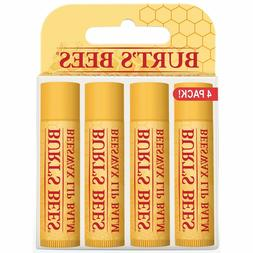BURTS BEES BEESWAX LIP BALM 4 PACK VALUE WITH VITAMIN E PEPP