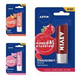 NIVEA caring Lip Balm, Pink Guava, Soft Rose, Peach, Pomegra