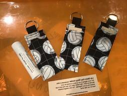 Chapstick Lip Balm Keychain Case Holder, Volley Ball Fobs