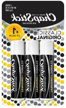 ChapStick Classic 3 Sticks Original Flavor Skin Protectant F