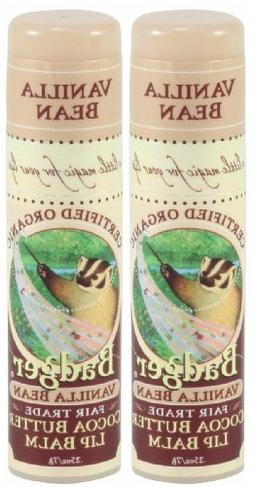 Badger Cocoa Butter Lip Balm-Vanilla Bean, 2 pack