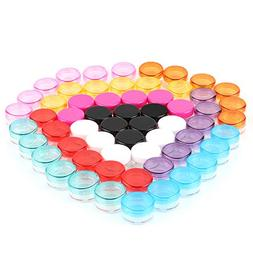 5G/5ML Container Cosmetic Jars with MultiColor Lids 60 Pcs f