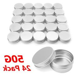 24/96pcs 50g Empty Refillable Bottles Aluminum Round <font><