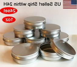 Empty Flat Metal Cosmetic Tin 2Oz W/Screwtop New Salve, Lip