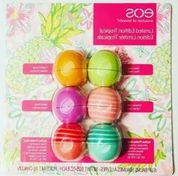 EOS Lip Balm TROPICAL 6 Pack Pina Colada, Coconut, Mango, Pu