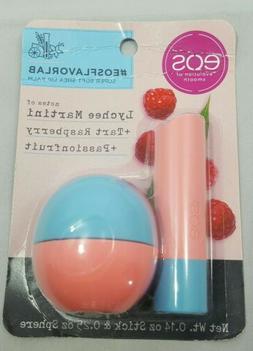 eos Flavor Lab Lip Balm Stick/Sphere -Raspberry Lychee Pack