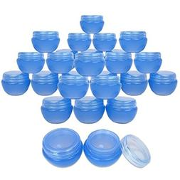 Beauticom 24 Pieces 10G/10ML Blue Frosted Container Jars wit