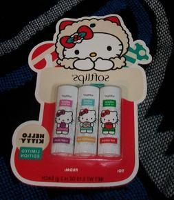 Hello Kitty Softlips Lip Balm trio NEW bnip Limited Edition