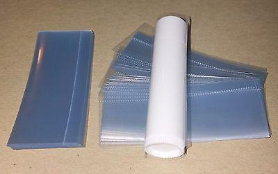 100 clear SHRINK WRAP BANDS for lip balm  tubes VERTICAL PER
