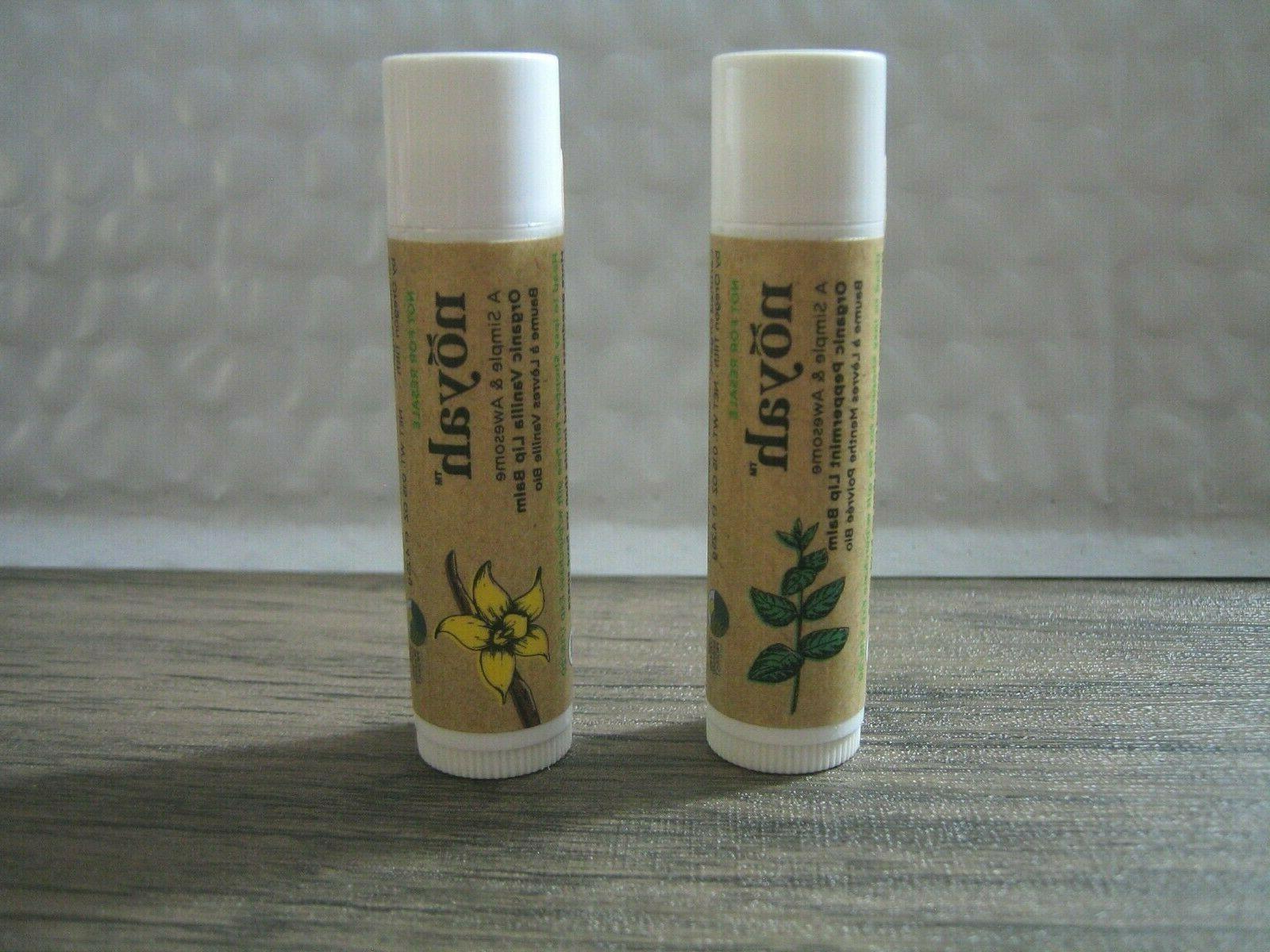 2pc organic lip balm vanilla and peppermint