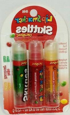 3 Pack Lip Smackers Skittles Original Lip Balms LEMON STRAWB