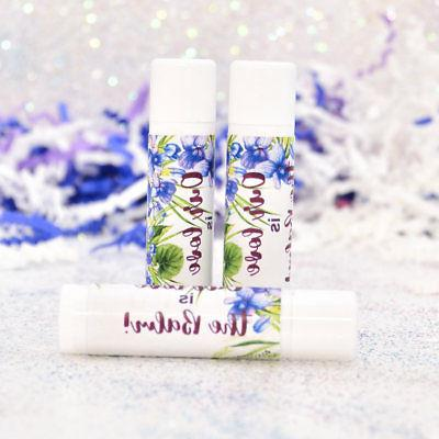 30 Violet Lip Balm Stickers, Personalized  Labels, Viola Wed