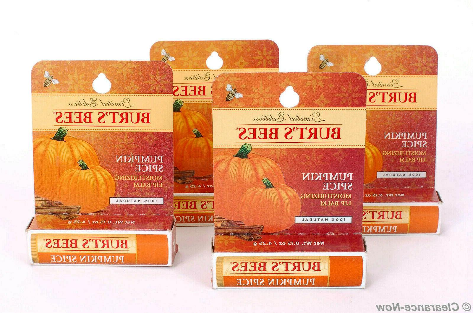 4 PACK Burt's Bees Moisturizing Lip Balm, Pumpkin Spice