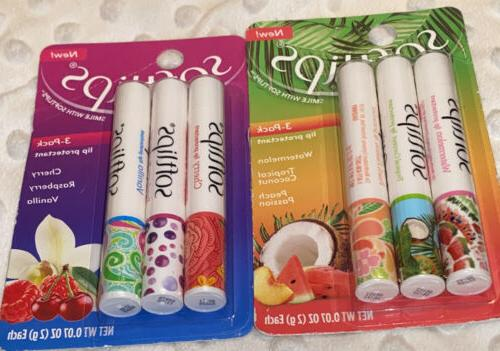 6 Softlips Watermelon Peach Passion Tropical Coconut Lip Bal