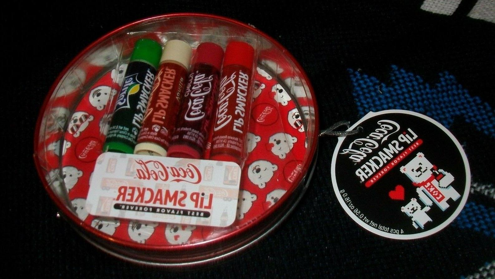 Lip Smacker Coca Cola Holiday Lip Balm Tin NEW 4 flavored li