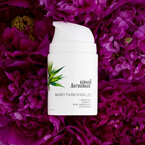 Cream Wrinkle Moisturizer for & Neck- Reduce of Lines - Natural & Organic C & Hyaluronic Acid - InstaNatural - 1.7oz