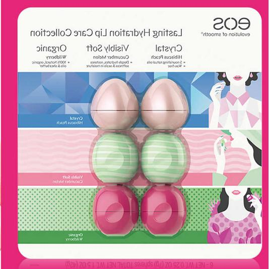 eos Crystal Lip Balm 6 Pack, Lasting Hydration Collection