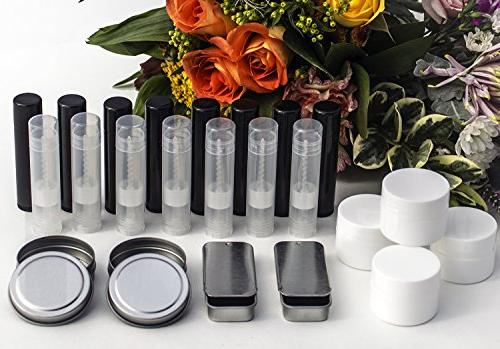DELUXE Lip with Filling Tray, For Making Own Clear Lip Balms! Includes Tubes, Wax 100% Pure Oils More