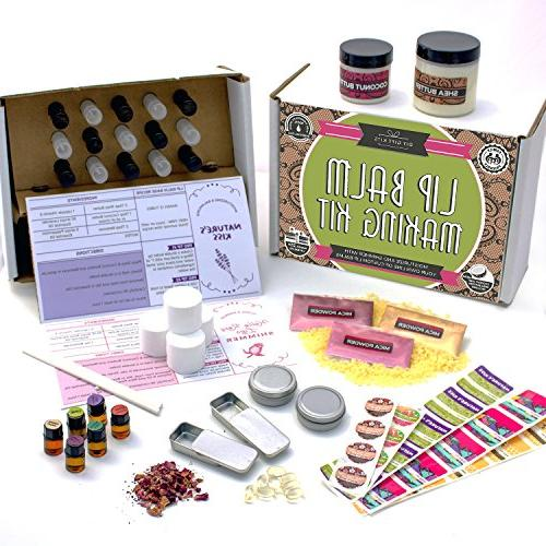 DELUXE Lip Balm Kit with Filling Tray, Clear & Colored DIY Lip Balms! | 100% Oils More