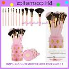 NEW BH Cosmetics 11-Piece DOT COLLECTION PINK Brush Set w/Cu