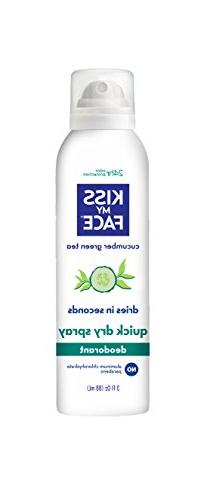 Kiss My Face Dry Spray Deodorant, Cucumber Green Tea, Alumin