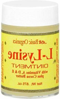 Basic Organics L-Lysine Lip Ointment 0.875oz For Cold Sores