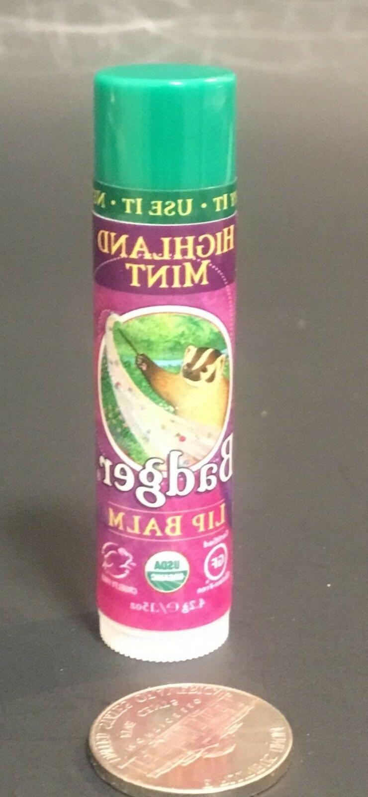 "BADGER LIP BALM Flavor : ""Highland Mint"" .15 oz / NEW &"